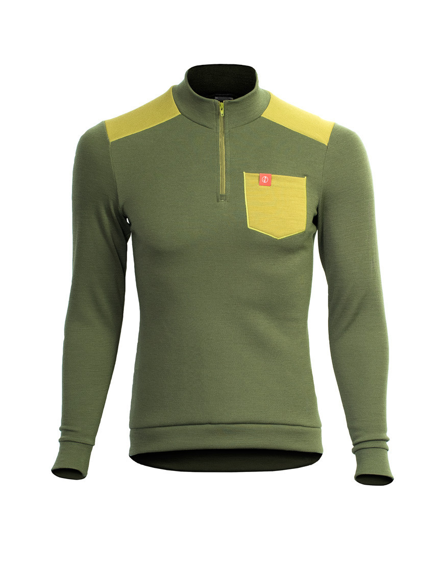 Thermal merino gravel cycling jersey - long sleeves, olive