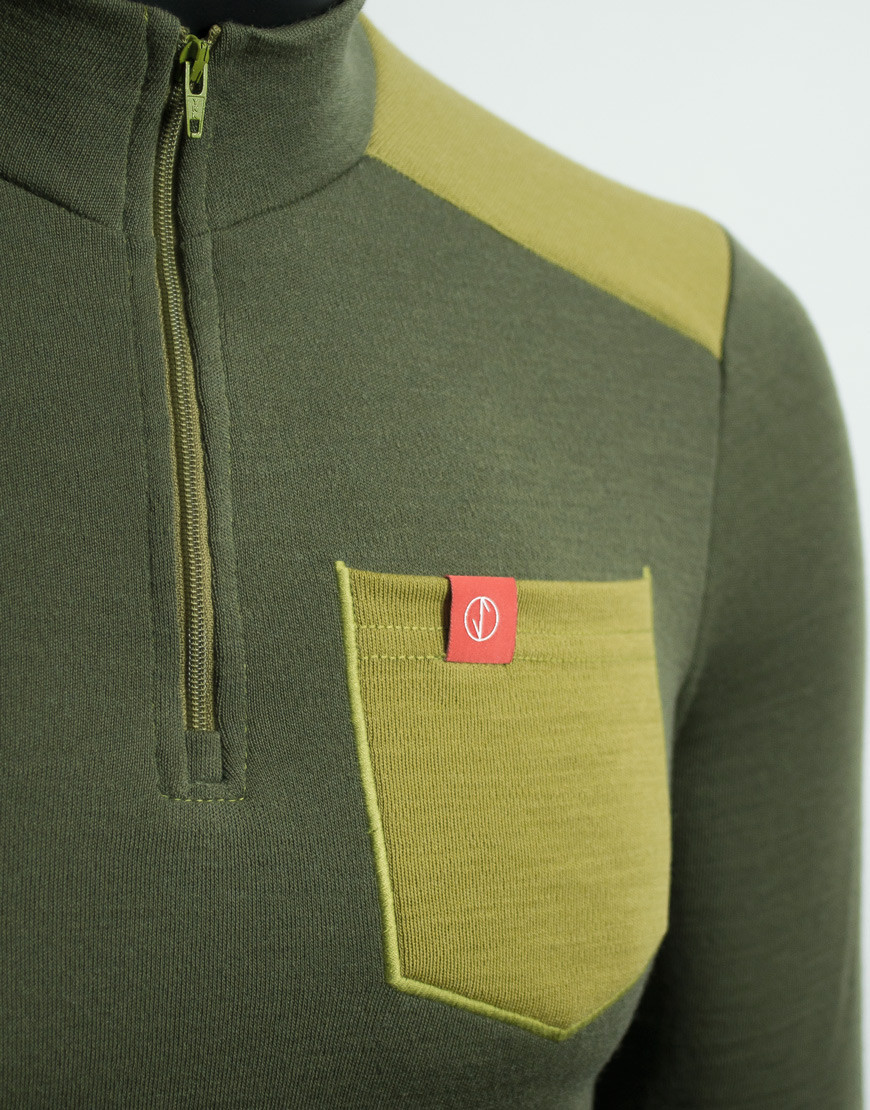 Thermal merino gravel cycling jersey - long sleeves, olive, chest pocket detail