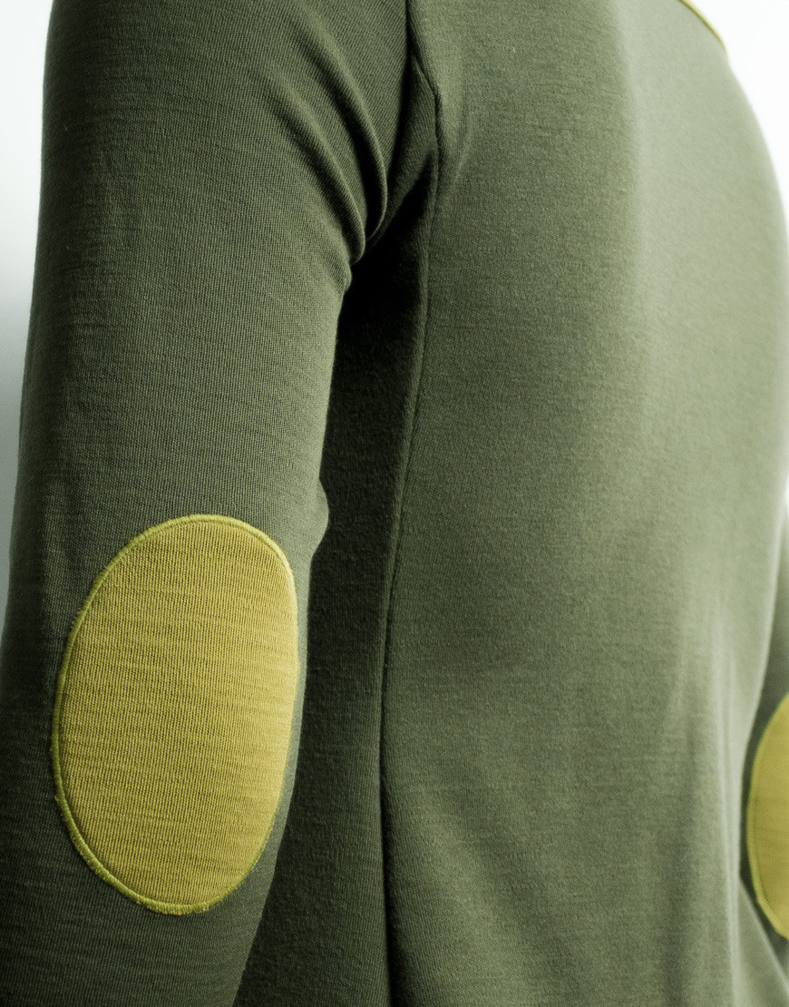 Thermal merino gravel cycling jersey - long sleeves with elbow patches, olive