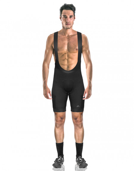 Men's merino bibs with plant-based reinforcements and cargo pockets -front