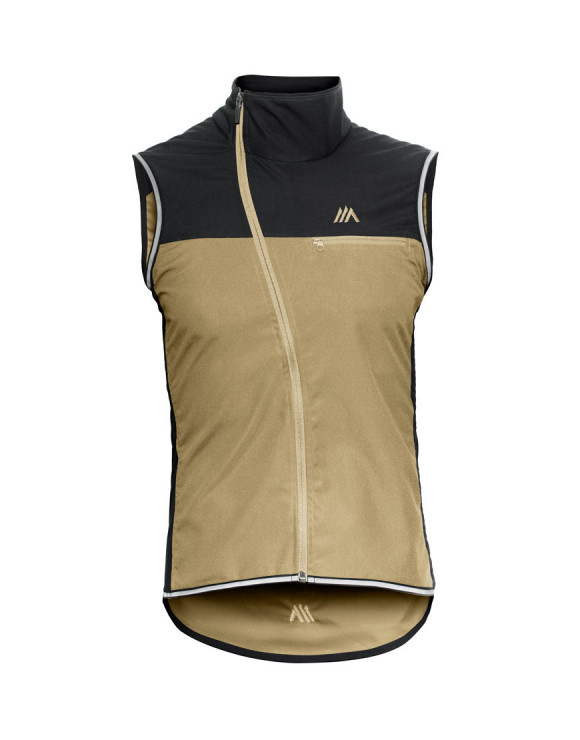 Men's windproof cycling gilet made with waxed cotton and plant-based textiles - black and sand
