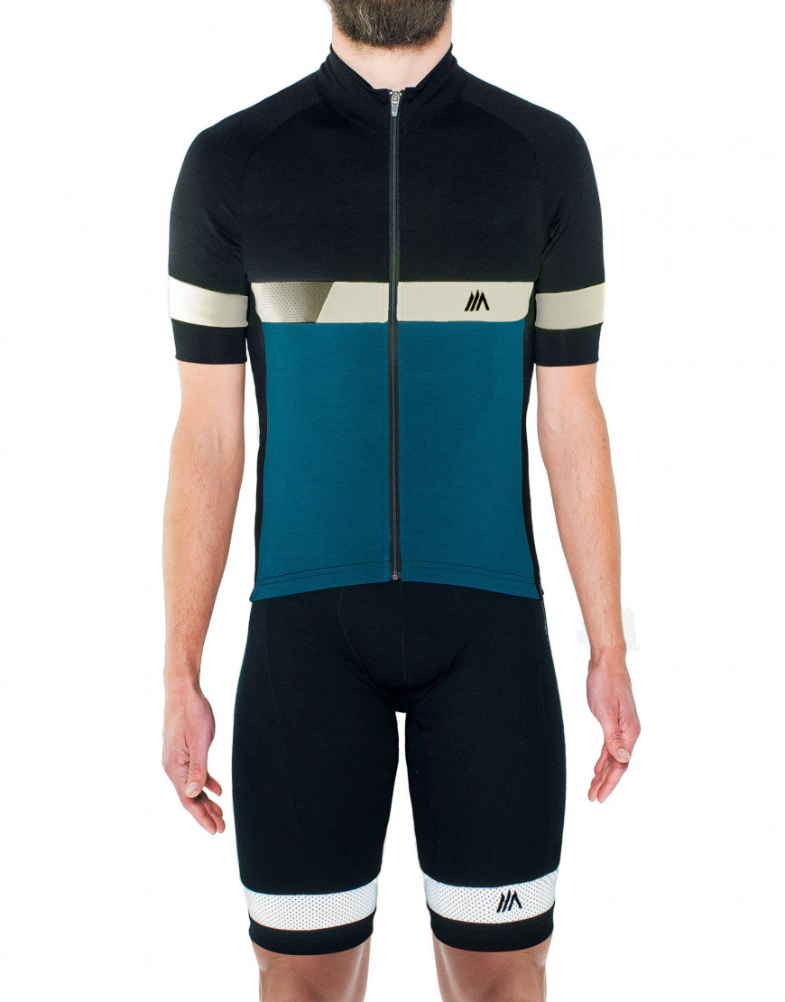 Mens merino wool cycling shorts with reflective details