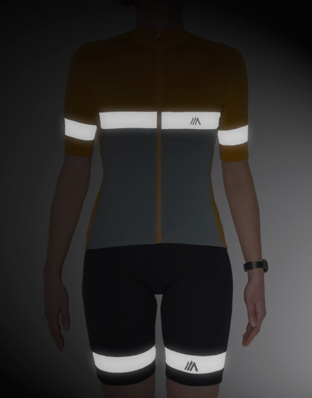 Womens merino cycling bibs with reflective details