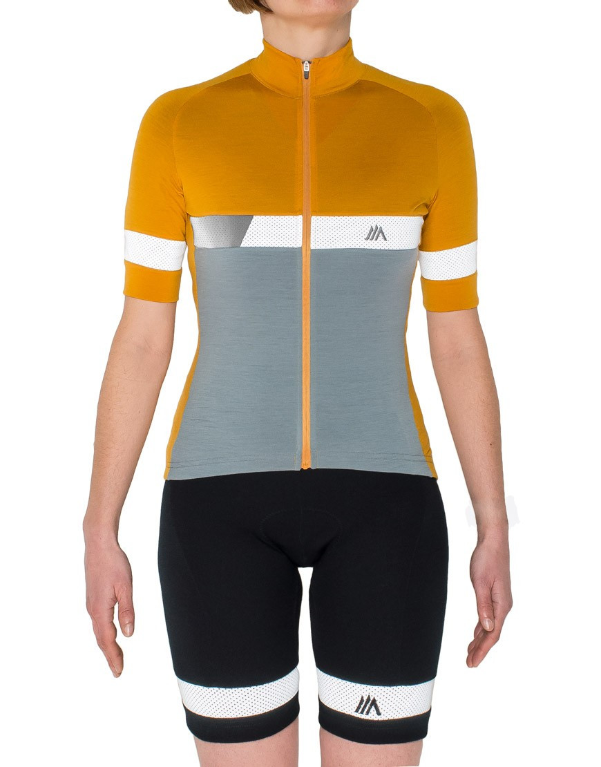 Womens merino wool cycling bibs with reflective details