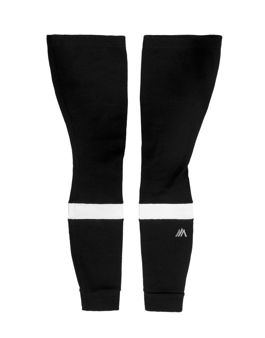 Merino wool leg warmers with reflective details