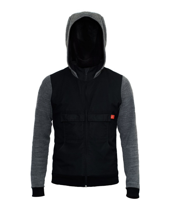 Merino Cycling Hoodie Jacket with waxed cotton, windproof outer