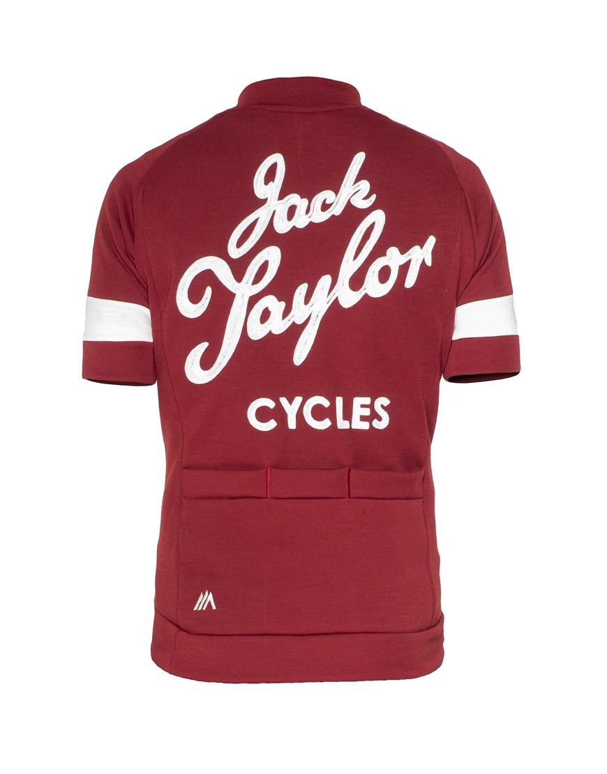 Jack Taylor Cycles Custom Merino Wool Jersey with chainstitch embroidery