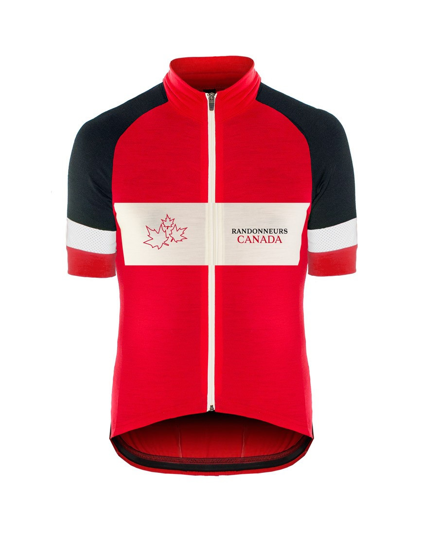 Randonneurs Canada Custom Wool Cycling Jersey with reflective details