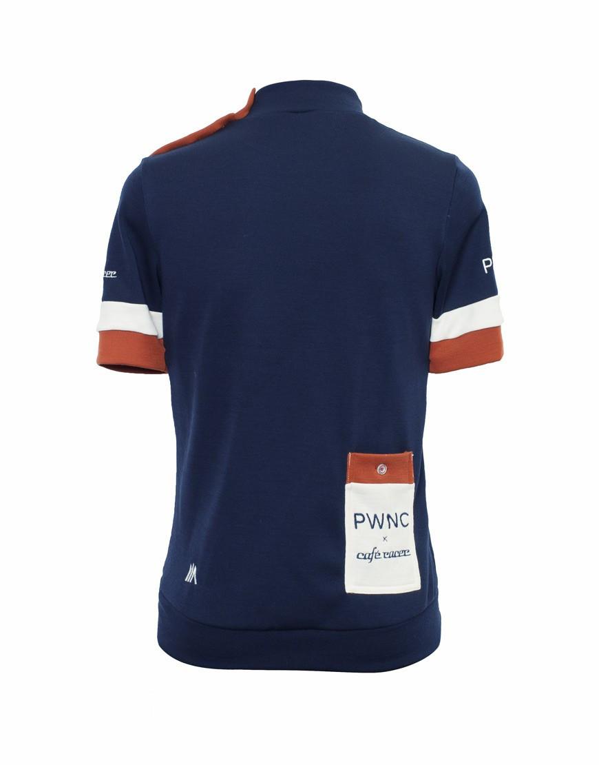 PWNC Cafe Maillot ciclismo personalizado de lana merina con botones en el hombro