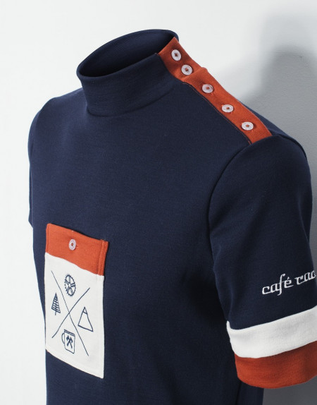 PWNC Cafe Custom Merino Wool Cycling Jersey with shoulder buttom placket