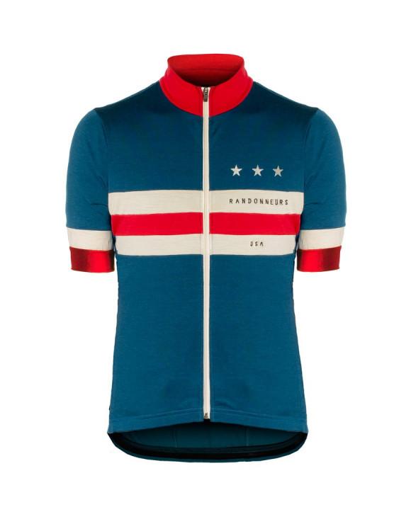 Maillot ciclismo personalizado para Randonneurs USA fabricado con lana merina ligera