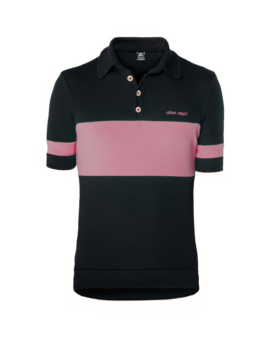 Classic merino wool cycling jersey with polo collar - pink