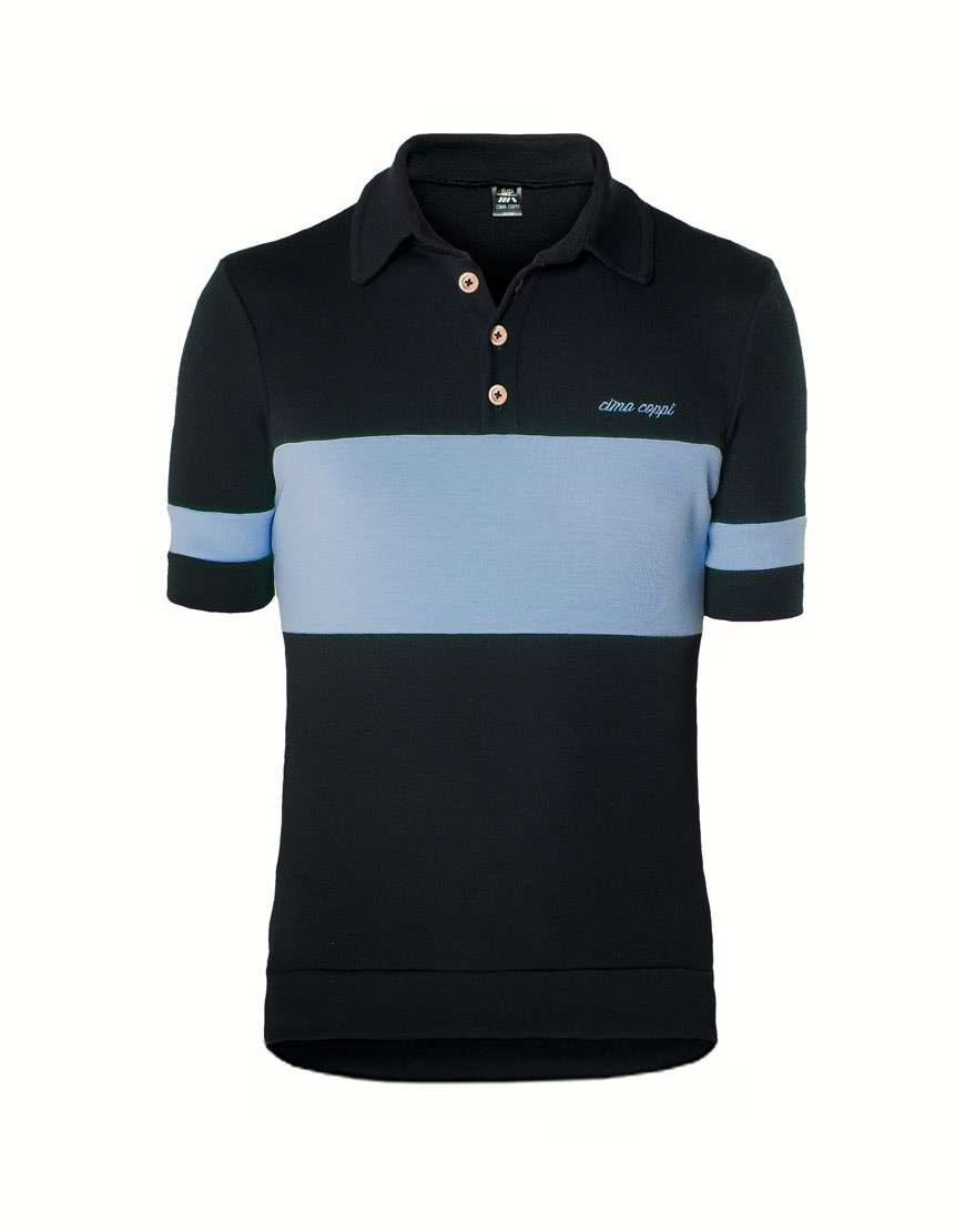 Classic merino wool cycling jersey with polo collar - blue