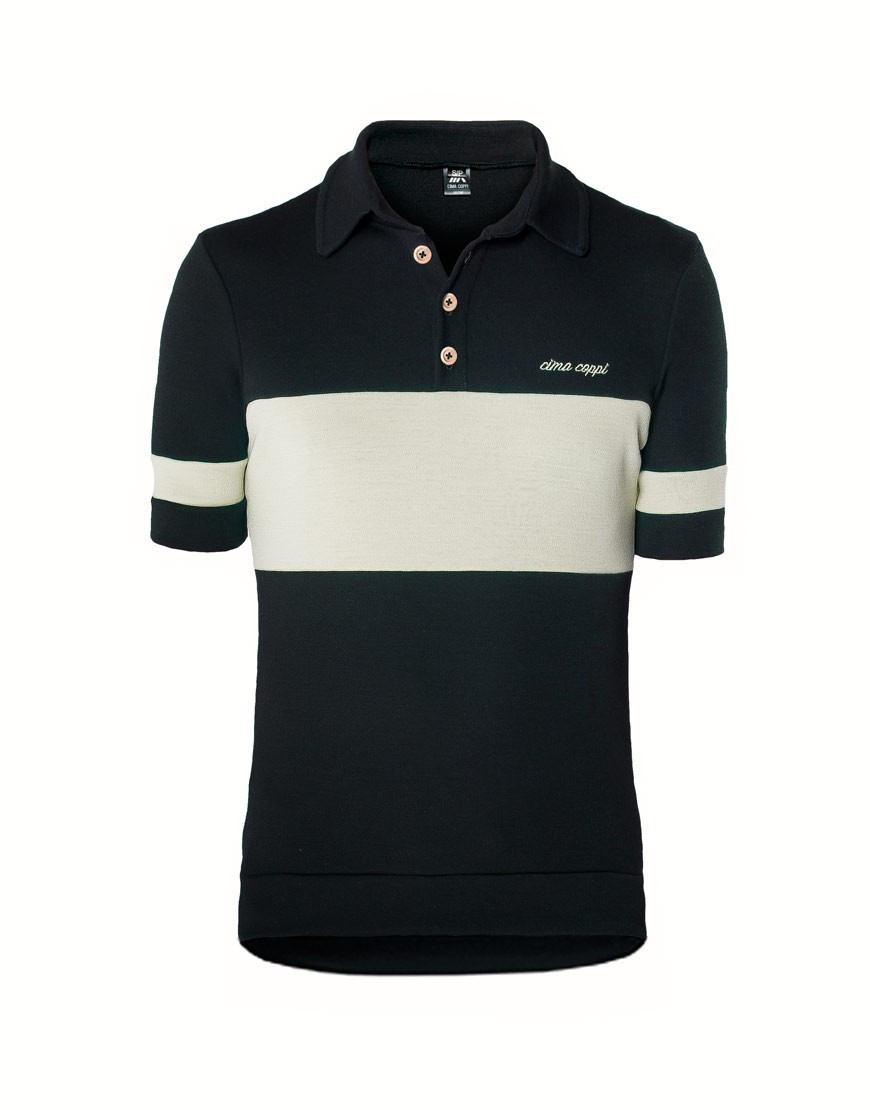 Classic merino wool cycling jersey with polo collar - white