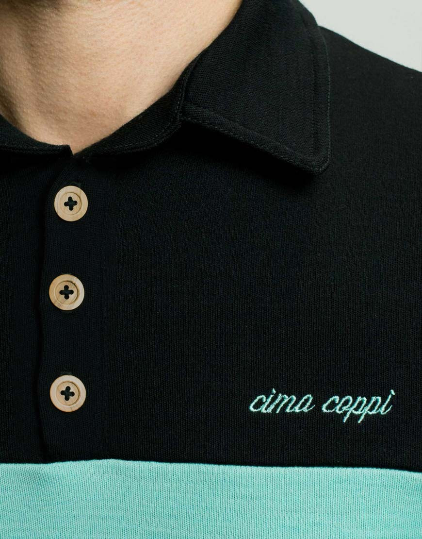 Classic merino wool cycling jersey with polo collar - celeste, buttons