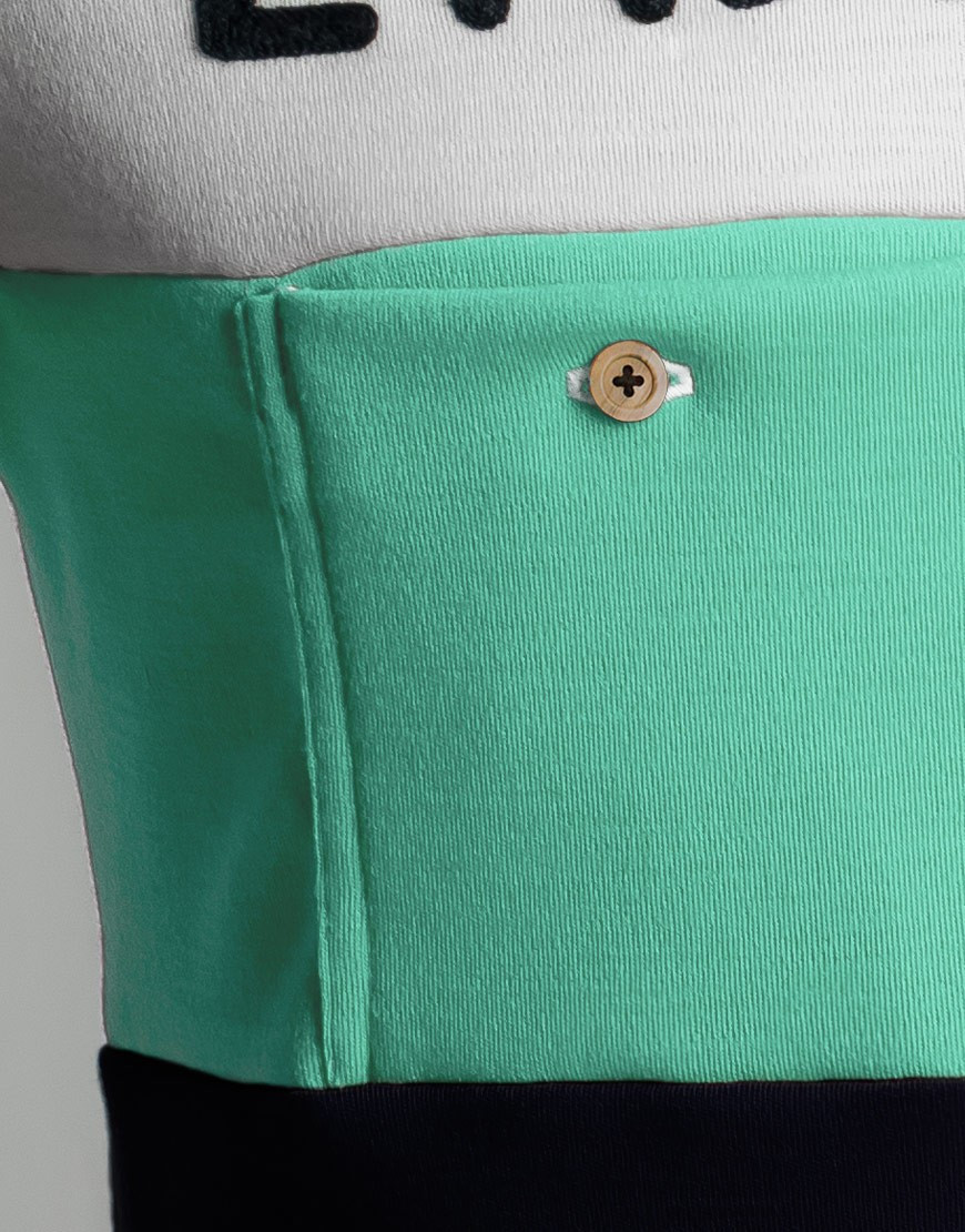 Classic Merino wool cycling jersey with chainstitch embroidery - celeste