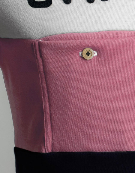 Women's Classic Merino wool cycling jersey with chainstitch embroidery - pink, front pocket detail