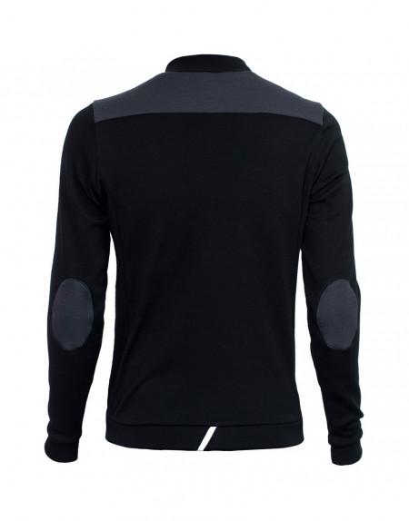 Thermal merino gravel cycling jersey - long sleeves, black