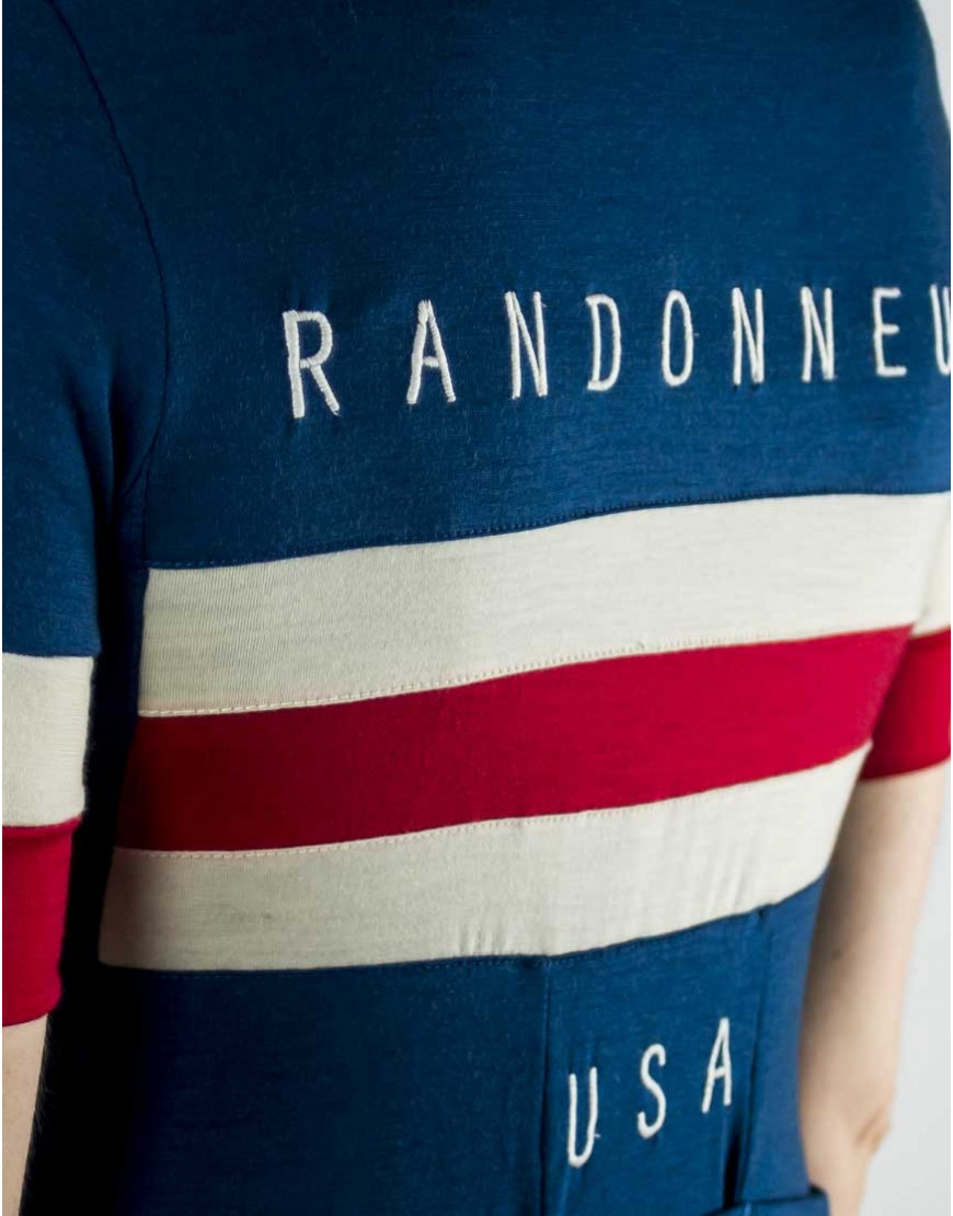 Randonneurs USA maillot ciclismo personalizado con lana merina ligera